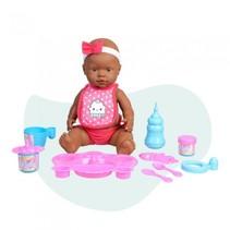 babypop Curiosete met maaltijden 40 cm roze 10-delig