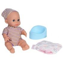 babypop met accessoires paars streepjes 24 cm