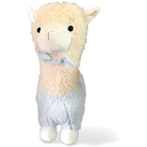 knuffel Alpaca junior 40 cm pluche beige/lichtblauw