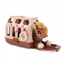 mini-knuffel paard junior pluche bruin 2-delig
