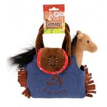 pony in tas 20 cm bruin/blauw