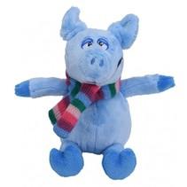 knuffelvarken met sjaal 19 cm blauw