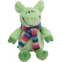 knuffelvarken met sjaal 19 cm groen