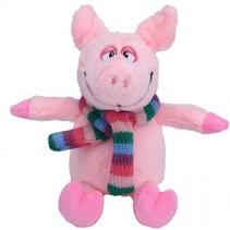 knuffelvarken met sjaal 19 cm roze