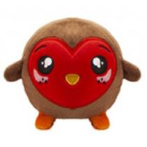 knuffel Squishimi Xmas junior pluche 9 cm bruin/rood