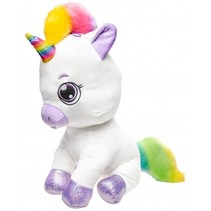 knuffel pluche unicorn 40 cm wit/paars