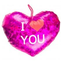 knuffelhart I love you metallic 16 cm roze