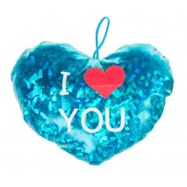 knuffelhart I love you metallic 16 cm blauw