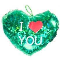 knuffelhart I love you metallic 16 cm groen