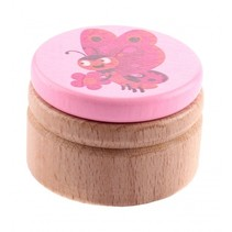 melktanddoosje vlinder roze 5 cm