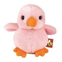 knuffelvogel met geluid 8 x 7 x 5,5 cm pluche roze