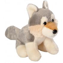 knuffel wolf junior 13 cm pluche grijs/crème