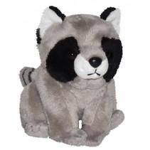 knuffel wasbeer junior 13 cm pluche grijs/zwart