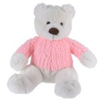 knuffelbeer met trui junior 24 x 25 cm pluche roze