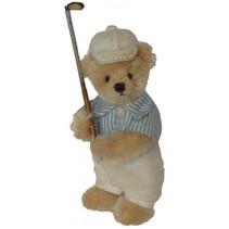 knuffelbeer Miniatuur Golfer 12 cm pluche beige