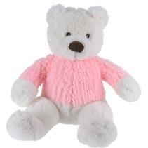 knuffelbeer met trui roze 26 cm wit