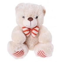 knuffelbeer met sjaal 30 cm wit