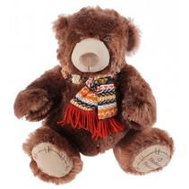 knuffelbeer met sjaal 30 cm bruin