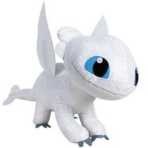 knuffel Dragon junior 40 cm polyester wit
