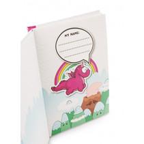 schrijfwarenset Theodor & Friends papier/hout roze 6-delig