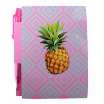 notitieboekje ananas met pen 8 x 11 cm roze