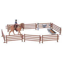 paardenspeelset junior 13,5 cm bruin 14-delig