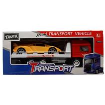 raceauto + transporter jongens 25 cm geel/rood 2-delig
