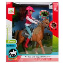speelset Paard met ruiter 21 cm roze/bruin 4-delig