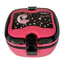 broodtrommel Princess meisjes 18 x 15 cm roze/zwart