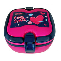 broodtrommel Heart meisjes 18 x 15 cm roze/blauw