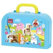 Maxi Abrick: dierenfiguren met koffer blauw