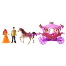 magische paarse koets met prins en prinses