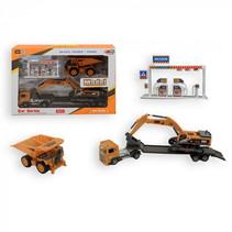 vrachtauto met kraan junior oranje/zwart 4-delig