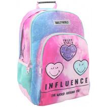 rugzak Influence meisjes 45 x 33 cm polyester roze/blauw