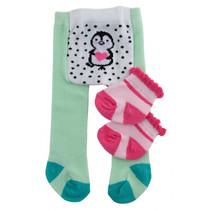 poppensokken en panty pinguïn polyester groen 35-45 cm