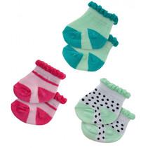 poppensokken Dotty polyester groen/roze 3 paar 35-45 cm