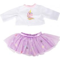 poppenkledingset rok en shirt 35-45 cm katoen roze/wit