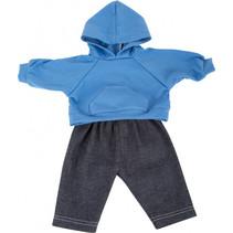 poppenkleding trui en broek 35-45 cm katoen blauw