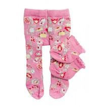 maillot en sokjes met bloem voor een pop van 35-45 cm