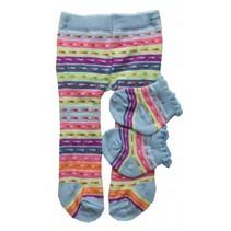 maillot en sokjes gestreept voor een pop van 35-45 cm