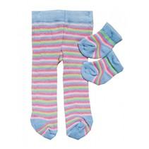 maillot en sokjes gestreept voor een pop van 28-35 cm
