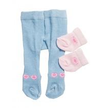 maillot en sokjes voor een pop van 28-35 cm blauw/roze