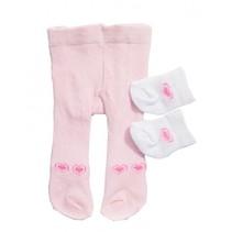 maillot en sokjes voor een pop van 28-35 cm roze/wit
