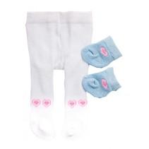 maillot en sokjes voor een pop van 28-35 cm wit/blauw