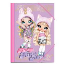 elastomap meisjes 35 x 25 cm karton roze/lila