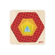 vormenpuzzel Geometrie junior 12 x 12 cm hout 5-delig