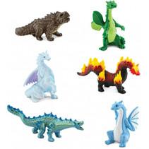 mini-figuren Draken junior 2-3 cm rubber 6 stuks