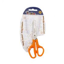schaar met zacht handvat 13 cm RVS zilver/oranje