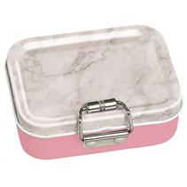 mini-bureaubox strepen staal grijs/roze/wit 7-delig
