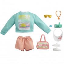 poppenkledingset Fashion Storytelling groen/oranje 9-delig